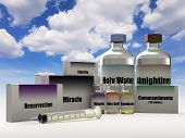 Fake Religious Drugs For Resurrection And Salvation - 3d Rendering poster