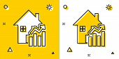 Black Rising Cost Of Housing Icon Isolated On Yellow And White Background. Rising Price Of Real Esta poster