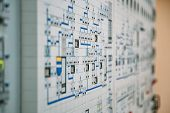 Control Panel Dashboard Of Industrial Machinery Or Power Plant, Selective Focus poster