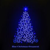 Vector Of A Glowing Blue Christmas Tree Ornament. Christmas Decorations With Blue Glowing Stars. Mer poster