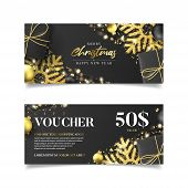 Gift Voucher For Christmas Sale. Vector Illustration With Realistic Black Gift Boxes, Garlands, Chri poster
