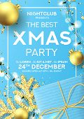 Christmas Party Poster Invitation. Holiday Background With Realistic Blue Gift Box, Gold Snowflake A poster