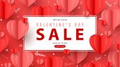 Valentines Day Sale Banner In Paper Art Style poster