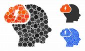 Brainstorm Mosaic Of Circle Elements In Variable Sizes And Color Tinges, Based On Brainstorm Icon. V poster