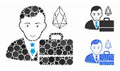 Eos Accounter Mosaic Of Round Dots In Various Sizes And Color Tinges, Based On Eos Accounter Icon. V poster