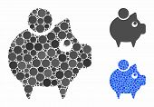 Piggy Bank Mosaic Of Small Circles In Various Sizes And Shades, Based On Piggy Bank Icon. Vector Sma poster