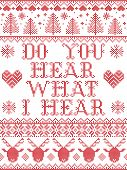 Do You Hear What I Hear Carol Lyrics Christmas Pattern With Scandinavian Nordic Festive Winter Patte poster