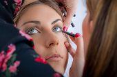 Makeup Professional Artist Applying Base Color Eyeshadow On Model Eye poster