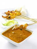 stock photo of sate  - Delicious chicken satay on skewers - JPG