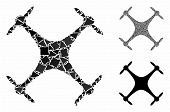 Airdrone Composition Of Irregular Parts In Various Sizes And Shades, Based On Airdrone Icon. Vector  poster