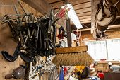 A Closeup View Of G-clamps Hung Inside A Metalwork Garage. Handy Tools Used For Clamping Objects Tog poster