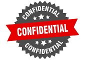 Confidential Sign. Confidential Red-black Circular Band Label poster