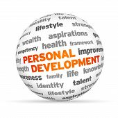 pic of self assessment  - 3d Personal Development Word Sphere on white background - JPG