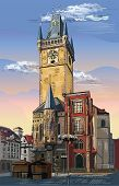 Colorful Vector Hand Drawing Illustration Of Old Town Hall In Prague. Landmark Of Prague, Czech Repu poster