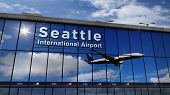 Jet Aircraft Landing At Seattle, Washington, Usa 3d Rendering Illustration. Arrival In The City With poster