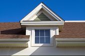 House Brown Roof Skylight Window Residential Home Facade poster