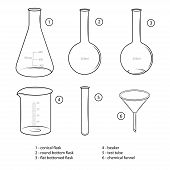 Set Of Chemical Glassware. Sketches, Black Color. Flask, Bulb, Test Tube, Round Bottom Flask, Flat B poster