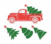 Vector Vintage Pickup Truck Delivery Of Christmas Tree. Old Red Car With Holiday Fir Tree And Set Of poster