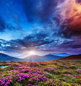 Majestic sunset in the mountains landscape. Overcast sky before storm. Carpathian, Ukraine, Europe.