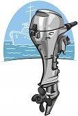 stock photo of outboard  - new modern outboard boat motor ready for sailing - JPG