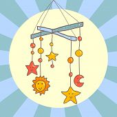 Baby crib hanging mobile toy on blue background card, vector