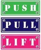 Постер, плакат: Push pull и поднимите Картоны для дверей