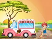 image of ice-cream truck  - Illustration of a boy with a cat beside an icecream truck - JPG