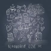 Romantic cartoon symbols on chalk board in EPS10 vector. Love concept with cupid, sweets, cat, birds