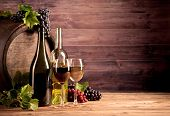 image of keg  - Still life of wine with wooden keg - JPG