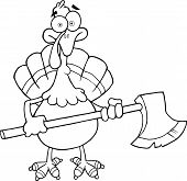Black and White Turkey With Ax Cartoon Character