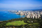 pic of waikiki  - View of downtown Honolulu and Waikiki from Diamond Head Crater Summit - JPG
