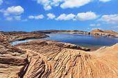 Bright blue water bay. Bottling magnificent Lake Powell photographed by Fisheye lens