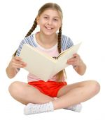 stock photo of blinders  - Small happy girl sits with the book in hands - JPG