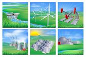 stock photo of hydro  - Illustrations of different types of power and energy generation including wind solar hydro or water dam and other renewable or sustainable as well as fossil fuel and nuclear power plants - JPG