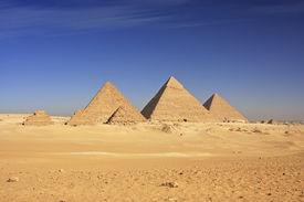 stock photo of camel-cart  - Great Pyramids of Giza - JPG