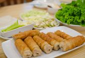 picture of nuong  - Vietnamese meatball wraps with vegetables or Nam-Neaung