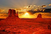 picture of cliffs  - Beautiful sunrise over iconic Monument Valley - JPG