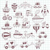 stock photo of motor-bus  - Big doodled transportation icons collection on school notebook - JPG