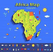 Africa map infographic political map individual states blue green card paper 3D vector