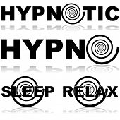 stock photo of obey  - Icon set showing a hypnosis spiral in combination with certain words normally associated with this practice - JPG
