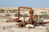 Rusty Oil Pipes In The Desert