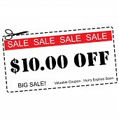 Ten Dollars Off Sale Coupon
