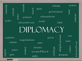 Diplomacy Word Cloud Concept On A Blackboard