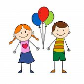 Children Holding Baloon