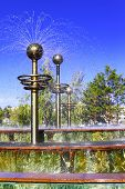 Modern fountain in the center of Pavlodar