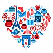 stock photo of glass heart  - Love Paris heart symbol with icons set isolated vector illustration - JPG