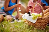 Basket with bottle, bread and grapes on background of cheering friends