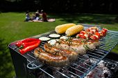 picture of bbq party  - A summer garden party with grilled food - JPG
