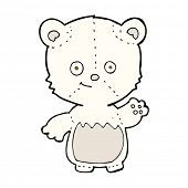 cartoon little polar bear waving