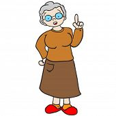 grandmother talking with raised finger